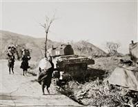 italia, san pietro, población civil abandonando la zona de guerra, 1944 by robert capa