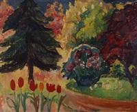 a colorful landscape by jan (johannes leonardus) kagie