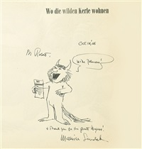 original drawing of max in wo die wilden kerle wohnen by maurice sendak