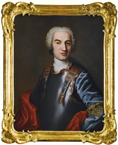 portrait of carl christian erdmann duke of württemberg oels half length in a gilt trimmed breastplate by jacopo amigoni