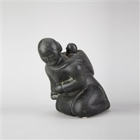 kneeling woman with child by nancy pukingrak aupaluktuq
