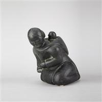 kneeling woman with child by nancy pukingrak aupaluktuq