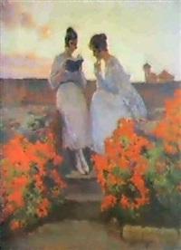 jovenes leyendo en el atico, entre flores rojas by tomás muñoz lucena