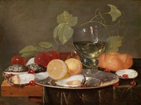stillleben mit früchten, austern und einem weinglas by jan davidsz de heem