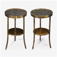 pair of eternal forest side tables, new york, circa 1960s by philip and kelvin laverne