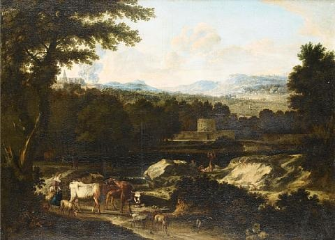 drovers and their cattle in an italianate landscape with a fortification in the distance by cornelis huysmans