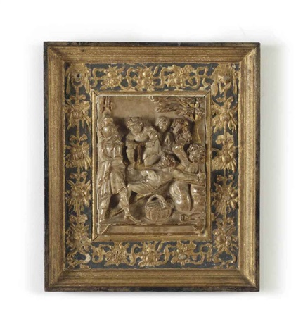 a parcel gilt carved alabaster relief of the crucifixion by nicolaas daems