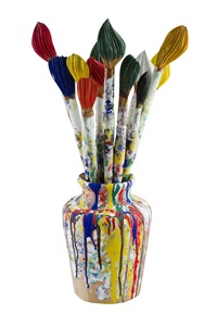 12 brushes in a vase by livio de marchi