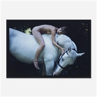 kate moss on a white horse as lady godiva, highgate cemetery, london by nan goldin