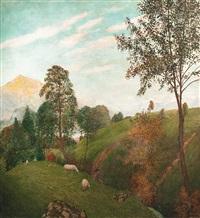 blick auf st. gilgen und schafberg by adolf helmberger