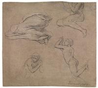 studio di figure maschili e studio di panneggio by francesco coghetti