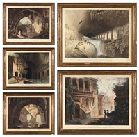 la villa de mécène à tivoli (+ 4 others; set of 5) by johann thomas hauer