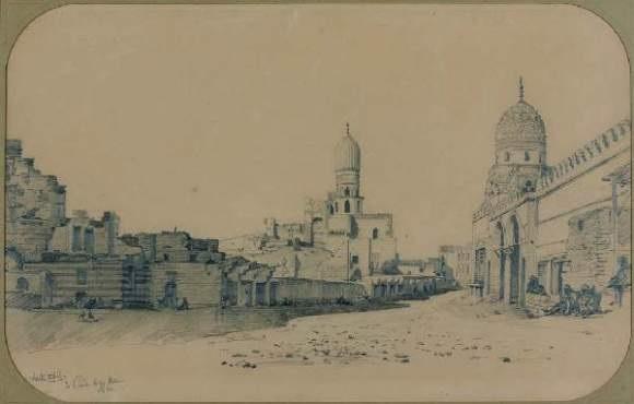 une vue de mosquées du caire une vue du temple de karnak à thèbes pair by prosper georges antoine marilhat
