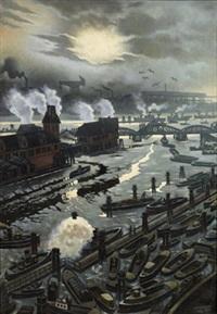 utsikt över hamburgs hamn by a. gutowski