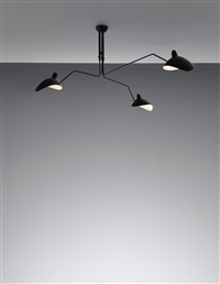 three-armed ceiling light with casquette shades, designed by serge mouille