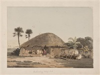 elephan and figures by a temple tank, madras (+ brahamany village hut; 2 works) by john gantz