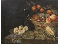 peaches on a pewter plate and a wicker basket of fruit, with a split melon and grapes on a stone ledge by jan mortel