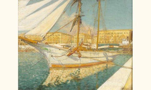 voilier à quai by antoine guillaume tony minartz