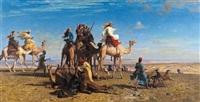 la chasse à la gazelle dans le désert égyptien, sinaï by léon adolphe auguste belly