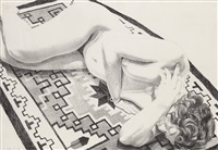 model on grey patterned rug (from peace portfolio ii) by philip pearlstein