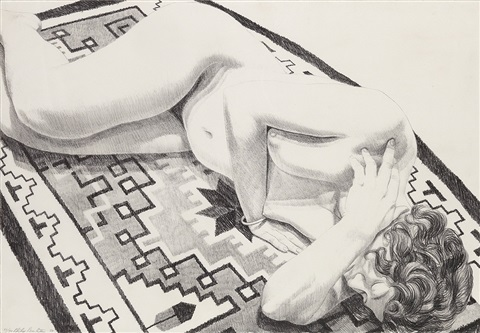model on grey patterned rug from peace portfolio ii by philip pearlstein