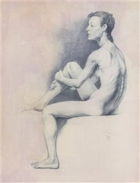 untitled (seated female nude) by steven assael