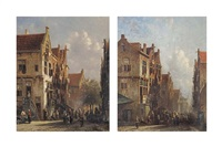 daily activities in a street (+ a streetscene with figures near a drawbridge; pair) by pieter gerardus vertin