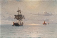 evening glow at sea by ludvig otto richarde