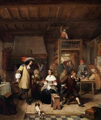 an elegant man courting a young woman in an inn by jean baptiste madou