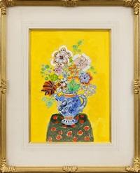 bouquet de fleurs au fond jaune by paul aïzpiri
