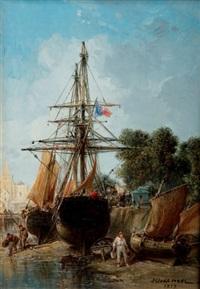 bateaux à quai by jules achille noel