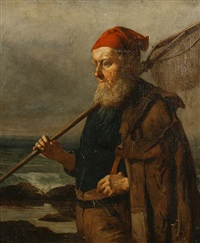portrait of a fisherman (+ another; 2 works) by william harris weatherhead