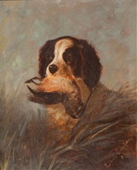 setter with woodcock by louis contoit
