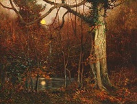 a forest scene by benjamin haughton