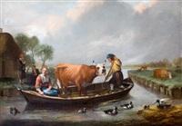 boeren met koe in een overzetpontje by jan victors