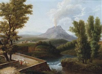 a wooded river landscape with a shepherd and his flock, vesuvius erupting beyond by jean victor bertin
