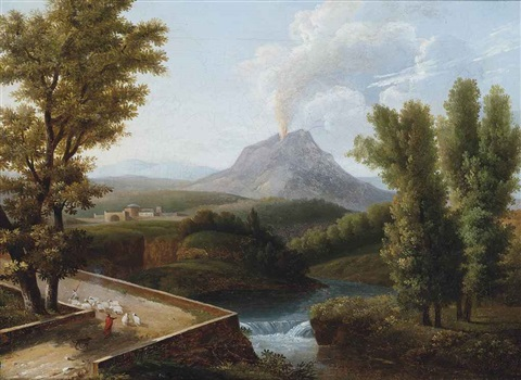a wooded river landscape with a shepherd and his flock vesuvius erupting beyond by jean victor bertin