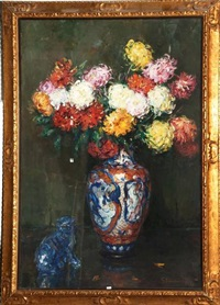 vase de chrysanthèmes by hubert glansdorff