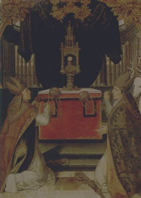 saints augustine and hubert burning incense at an altar by german school-augsburg (16)