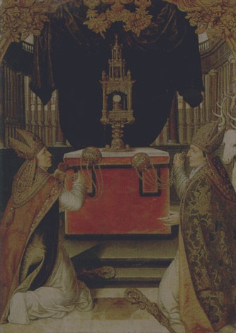 saints augustine and hubert burning incense at an altar by german school augsburg 16