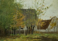 farmhouse & trees by horatio walker