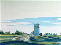 farm and grain elevator by robert newton hurley