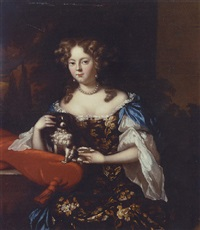 portrait of a lady in a blue dress with embroidered flowers, her arm resting on a red cushion, with a spaniel by aleijda wolfsen