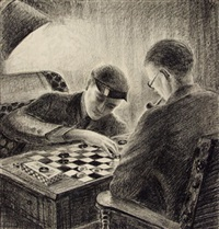 men playing checkers by g. ralph smith