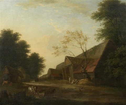 a groom with horses approaching an inn by george lambert