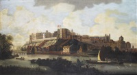 view of the windsor castle and the thames by hendrick danckerts