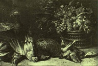 still life with song birds and other birds on a table with a basket of grapes by jan-baptist tyssens