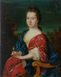 portrait of a lady wearing a crimson dress with a white lace bodice and blue wrap by theodorus netscher