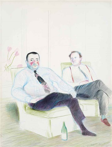 portrait of peter langan and jean marc moussis by david hockney