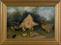 two hens and eleven chicks by mary b. leisz